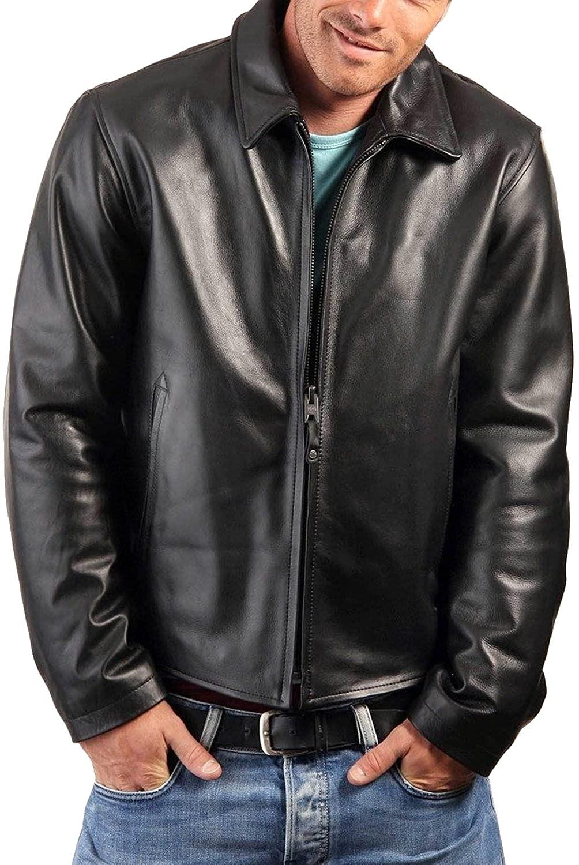 Laverapelle Mens Genuine Lambskin Leather Jacket (Black, Aviator Jacket) - 1501497