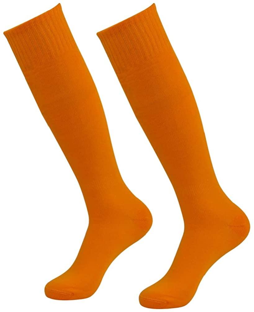 diwollsam Unisex Soccer Socks, Sport Long Tube Knee High Solid Football Volleyball Baseball Team Uniform Socks 2 Pairs
