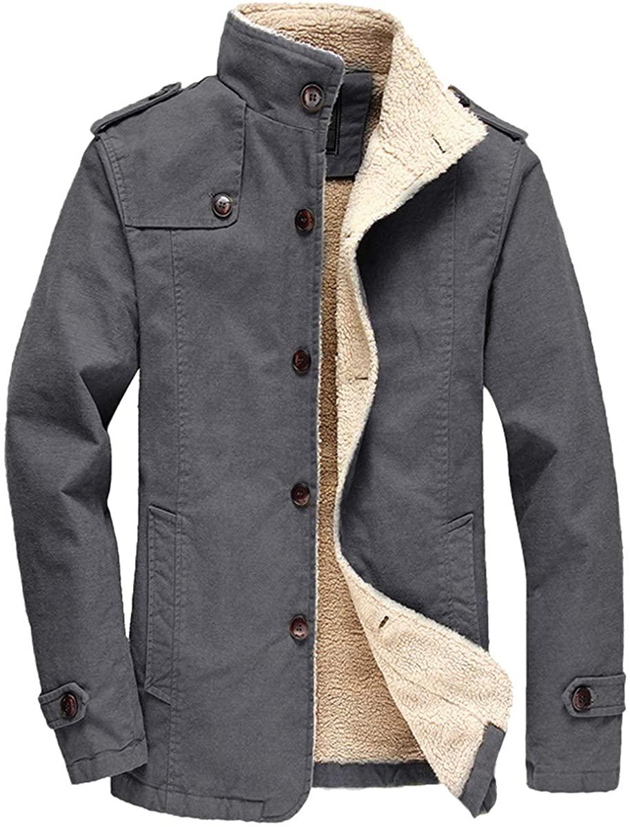 FTIMILD Men's Winter Jackets Fleece Warm Coats Sherpa Lined Parka Thick Outerwear