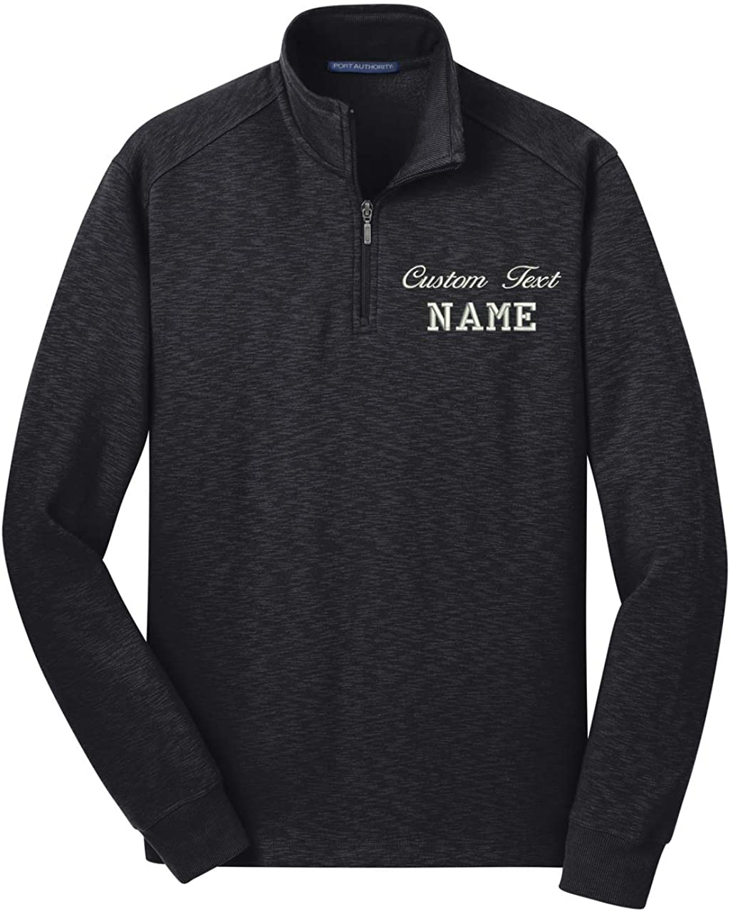 INK STITCH Men Custom Stitching Text Slub Fleece 1/4 Zip Pullover Zip Up - 3 Colors
