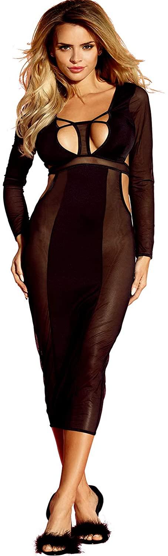 EDENIGHT Women Lingerie Deep V Long Gown Sheer Babydoll Dress