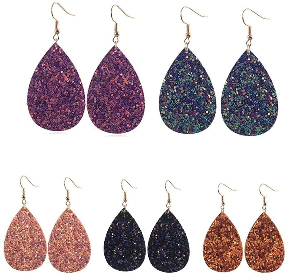 Tiande 5 Pair Leather Dangle Drop Earrings For Women Girls Shinning Teardrop Leaf Drop Earrings Gift