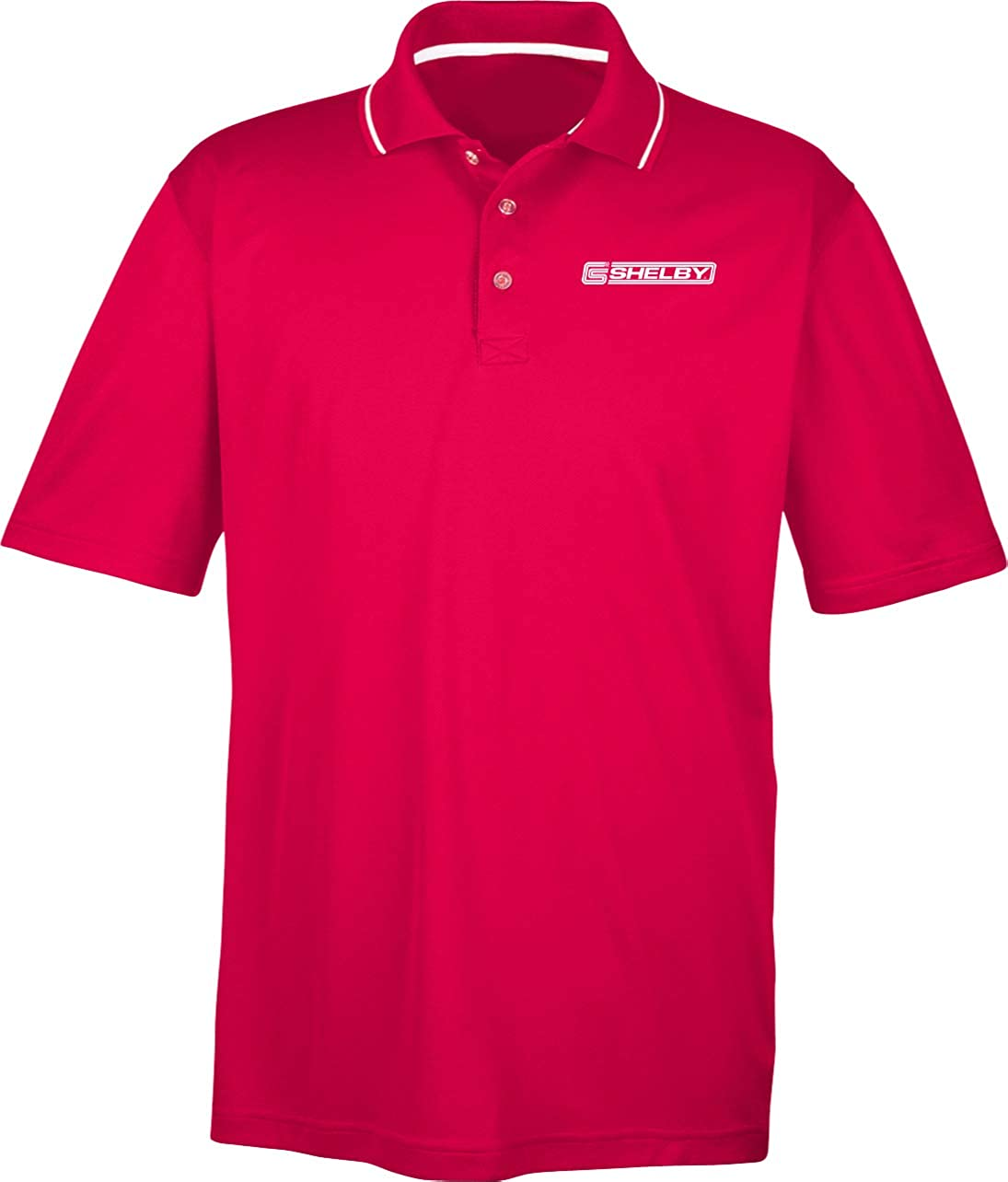 Ford Mustang Shelby Crest Pocket Print Two Tone Polo, Red 3XL