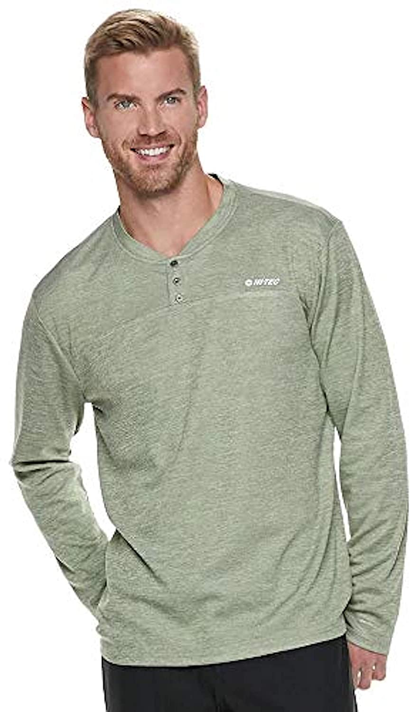 HI-TEC Men's Sequoia Henley Long Sleeve Performance T-Shirt, Vineyard, Large