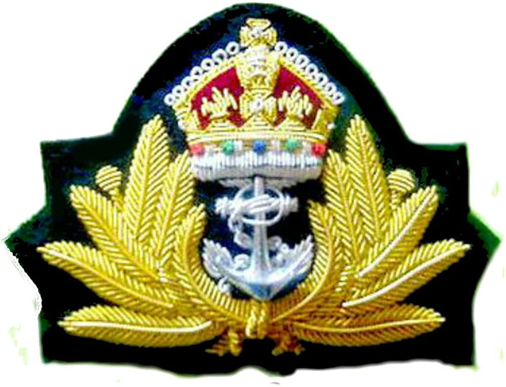 UK BRITISH ROYAL NAVY OFFICERS CAP HAT KING CROWN BADGE - NEW EXCELLENT 3D HAND EMBROIDERY - CP MADE