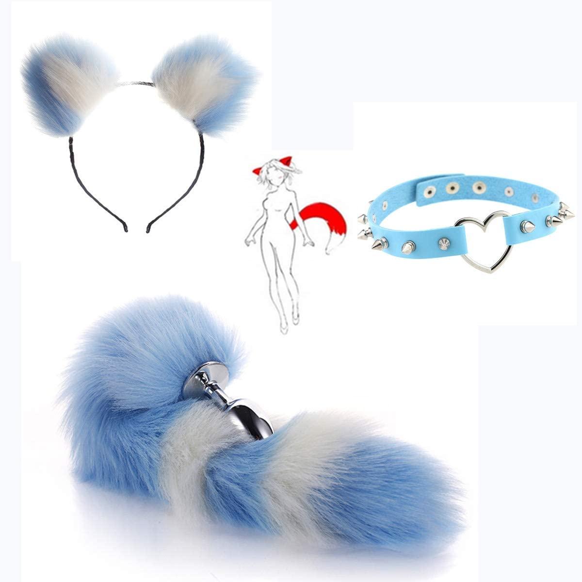 3Pcs/Set Fluffy B-ütt Pl-ǔg Fox Tail Plush Cat Ears,Heart-Shape Spikes Collar Choker Necklack Masquerade Halloween Costume Cosplay Props - L
