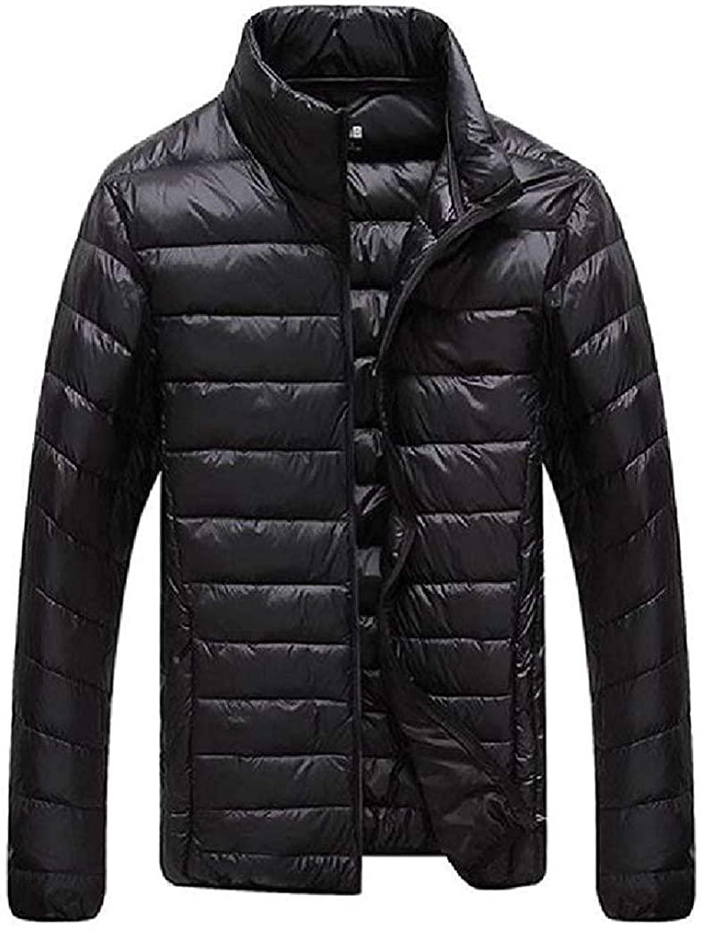 Jhsxydgy Mens Keep Warm Stand Collar Winter Zip-up Packable Puffer Down Parka Jacket