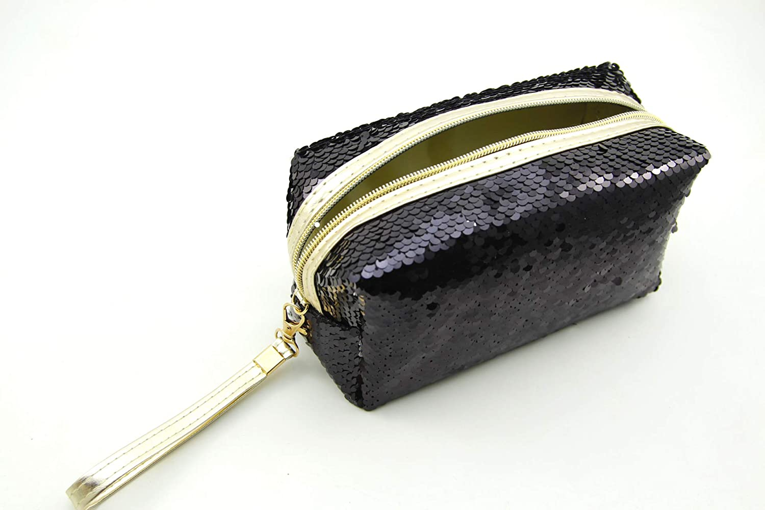 Admirable Idea Fashion Sequins Makeup Bag Portable Glittery Cosmetic Pouch Bag for Womens - black