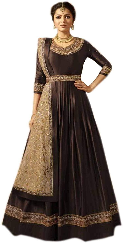 Indian/Pakistani Bollywood Party Wear Heavy Linnen Satin Long Anarkali Gown for Womens
