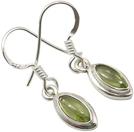 SilverStarJewel 925 Sterling Silver Natural Cabochon Peridot Earrings 1.1