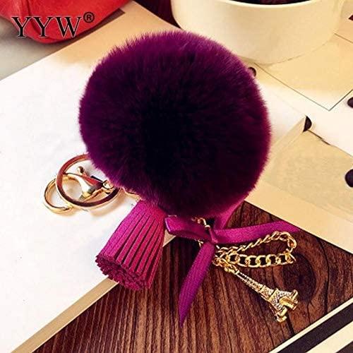Rarido 10 Color Cute Fluffy Keychain Bag Pendant Car Rabbit Fur Pompom Keychain Eiffel Tower Ornaments Key Ring Chain Llaveros - (Color: Purplish red)
