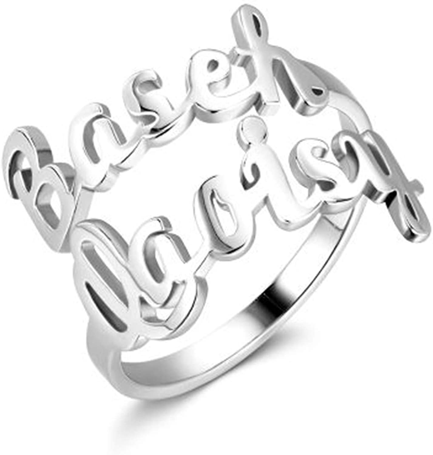 Camilaklein Personalized Name Ring Engrave Name Plate Stacking Ring Customize Two Names Promise Ring for Women Girls Men