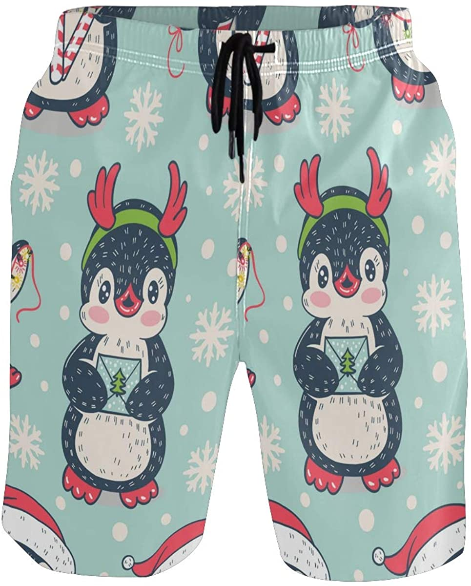 Men's Swim Trunks Beach Shorts Cute Penguin Winter Snowflake Quick Dry Shorts Mens Swim Trunks with Mesh Lining