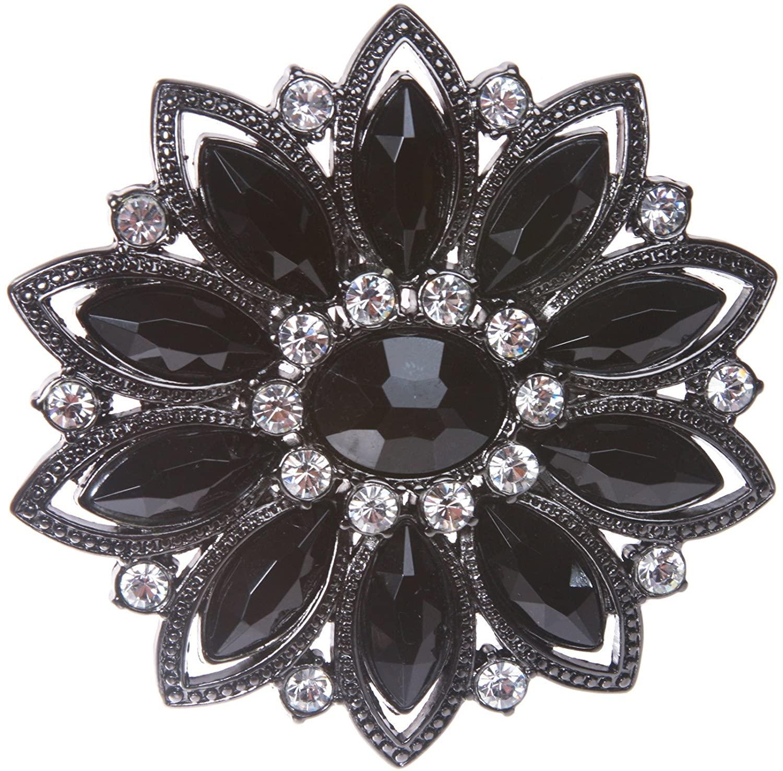 Black Rhinestone Flower Belt Buckle