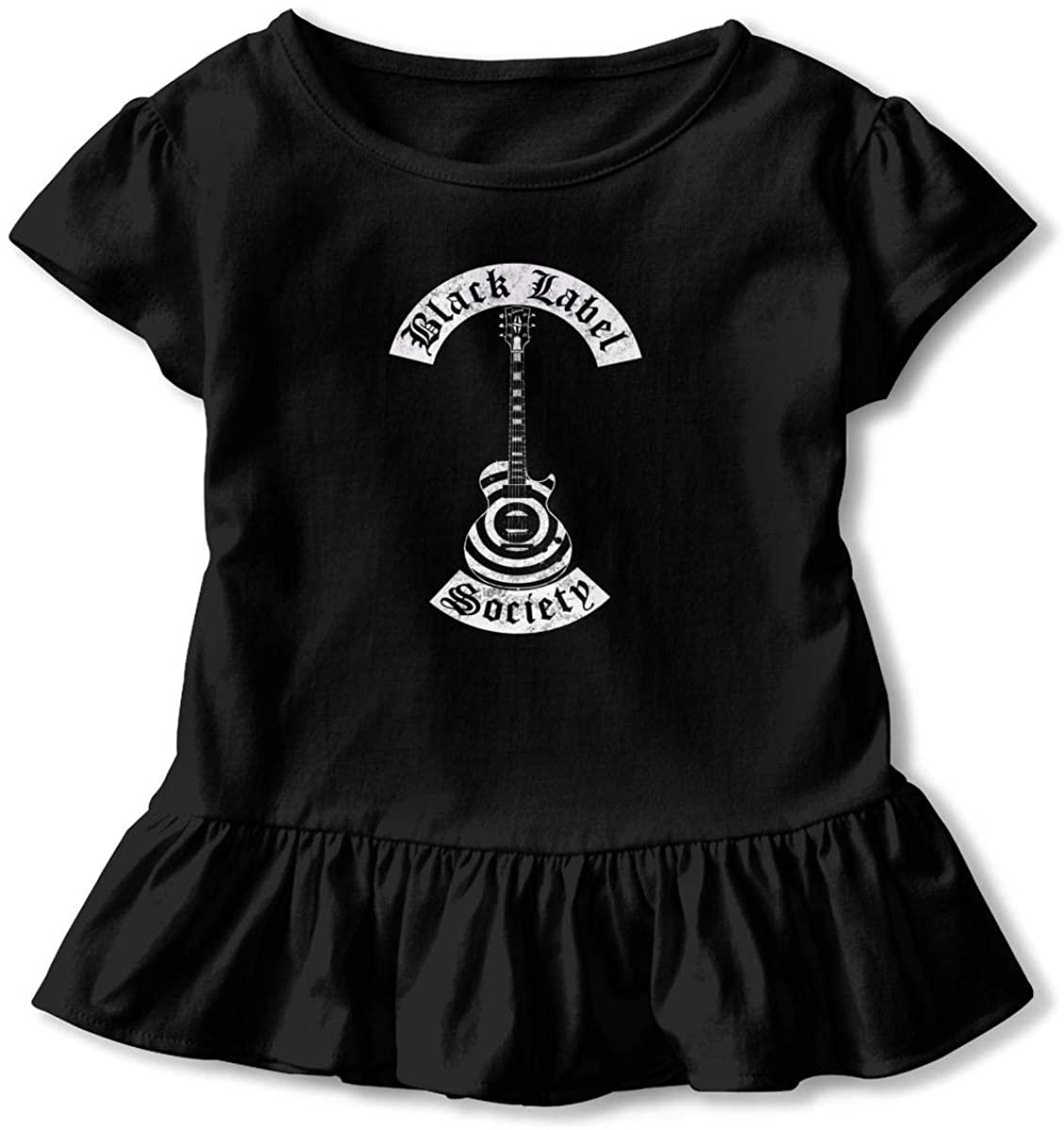 Black Label Society Toddler Girls Ruffle T-Shirt Short Sleeve 2-6t