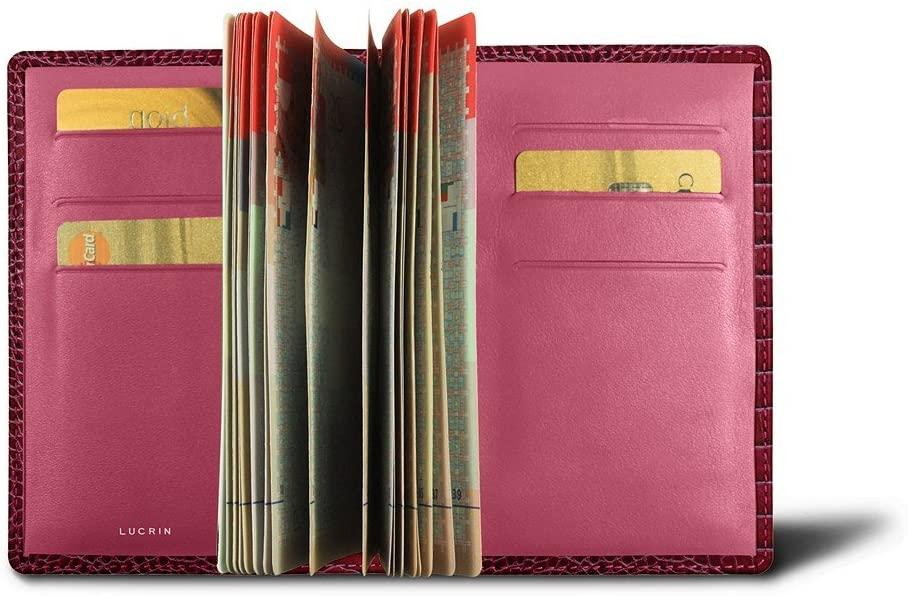 Lucrin - Luxury Passport Holder - Fuchsia - Crocodile Style Calfskin