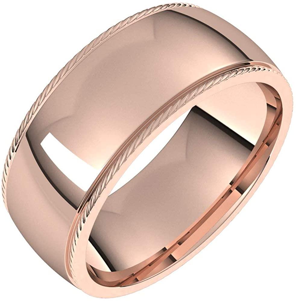 Bonyak Jewelry 18k Rose Gold 8mm Rope Half Round Comfort Fit Band - Size 18.5