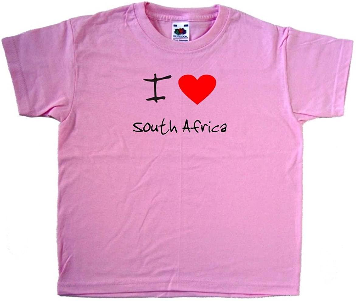 I Love Heart South Africa Pink Kids T-Shirt