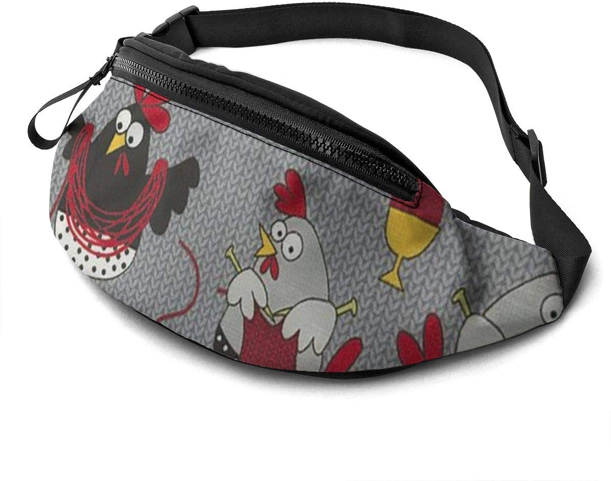Red Chicken Grey Fanny Pack For Men Women Waist Pack Bag With Headphone Jack And Zipper Pockets Adjustable Straps