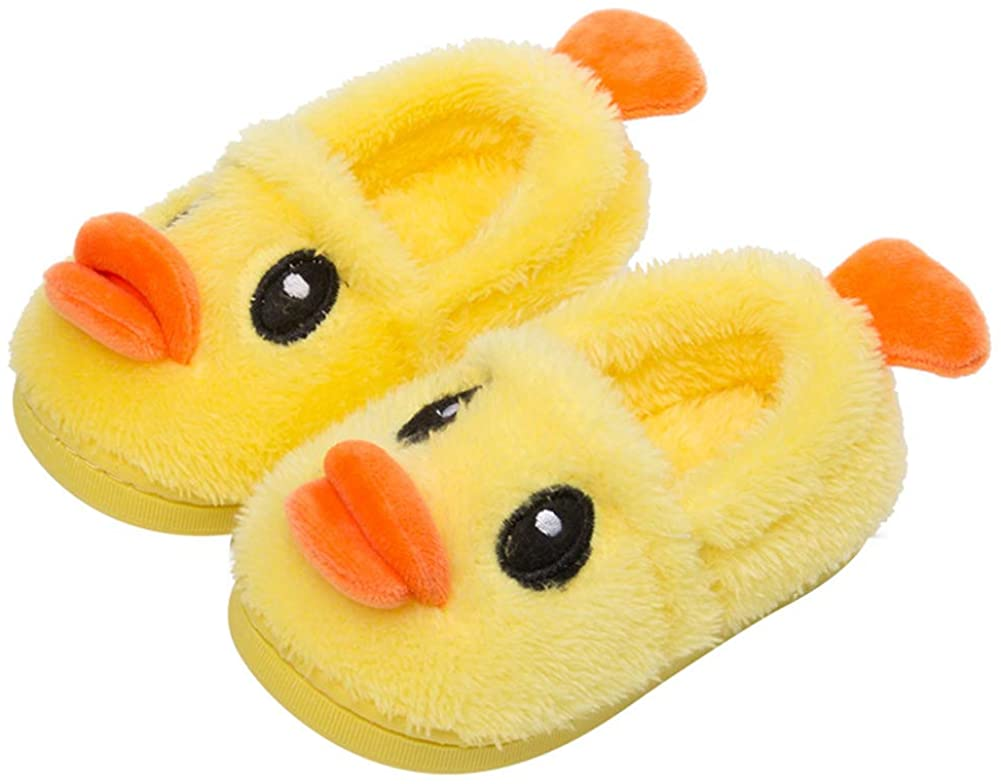 Kids Cute Plush Duck Slippers Indoor House Slippers Warm Winter Shoes
