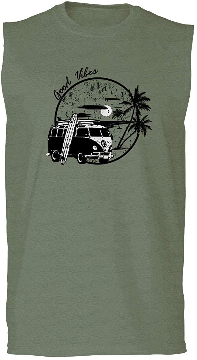Big Cool Hipster Good Vibes Vintage Graphic surf Beach Print Summer Men's Muscle Tank Top Sleeveless t Shirt