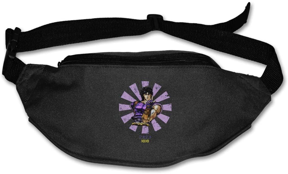 Hwxzviodfjg Jo-Jo'S Bizarre Adventure Adjustable Running Belt Waist Pack Belt Fanny Pack Black