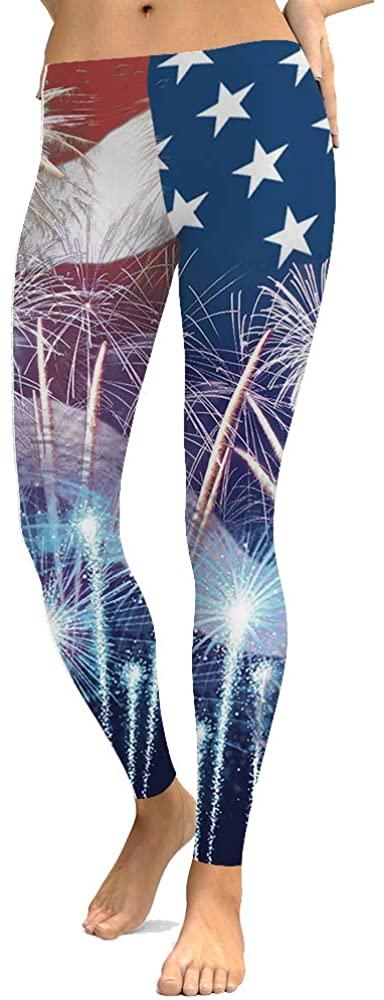 AEMOOEE Women's 3D American USA Flag Patriotic Leggings Printed Stars and Stripes Ultra Soft High Waist Leggings