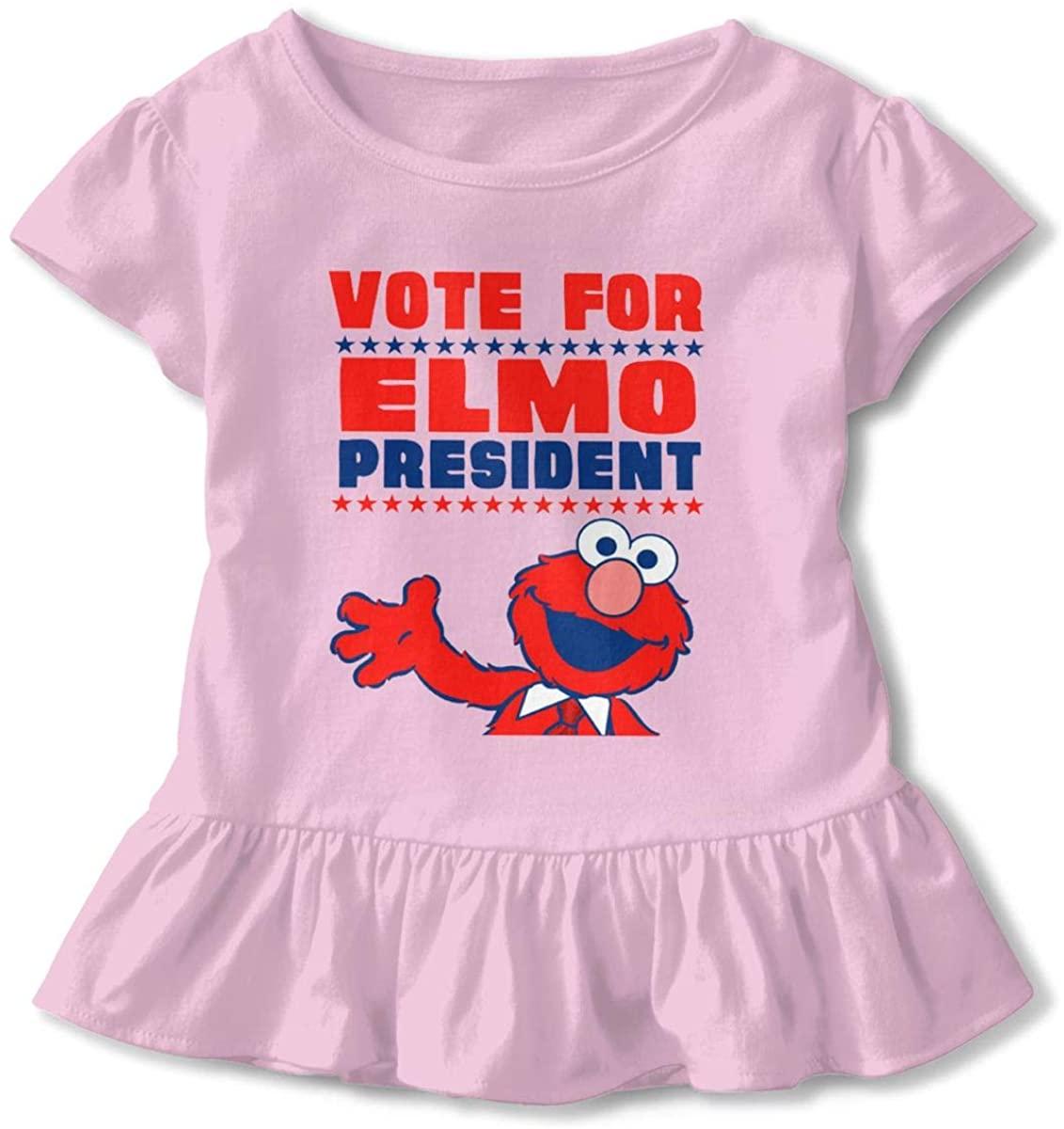 Kids Vote for Elmo Toddler Short Sleeve T Shirt Children Girls Cotton Graphic Tee Soft Dress (2-6T)