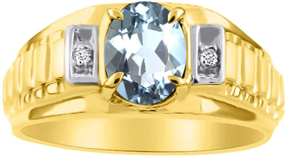 Diamond & Simulated Aquamarine Ring 14K Yellow or 14K White Gold Role X Design