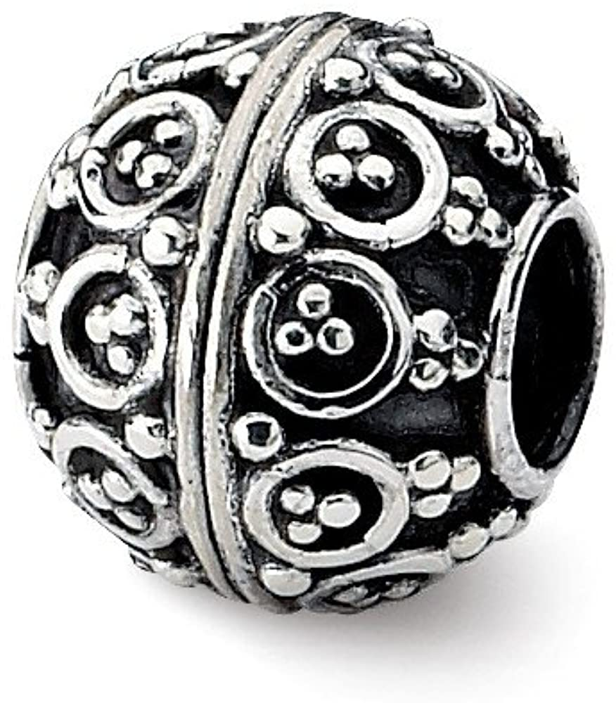 Bead Charm White Sterling Silver Themed 10.91 mm 10.00 Reflections Decorative Bali