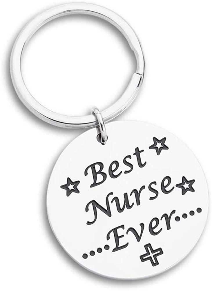 Nurse Inspirational Graduation Gift Nursing Day Weeks Keychain for Her Men Women Kids Mom -Best Nurse Ever-Nurse Graduation Gifts Nurses Week