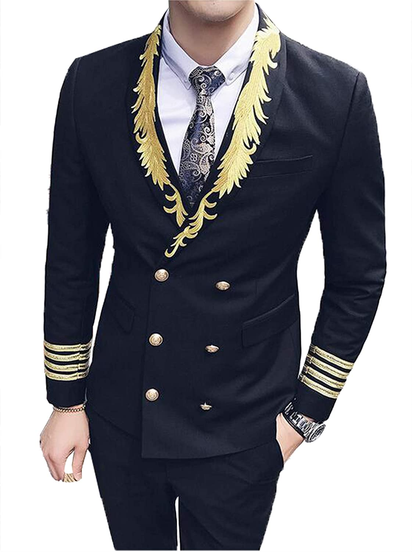 Setwell Mens Suits Gold Black Baroque Blazer Slim Fit Wedding Tuxedo for Men