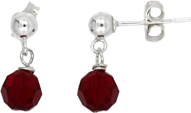 Sterling Silver Polished 6 Millimeter January Birthday Dark Red Crystal Dangle Earrings