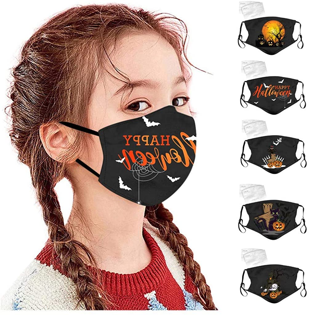 VOYOAO 5 Pcs Halloween Cloth Face Shields for Adults/Kids Face Bandanas Protection Face Covering With 10 Pc Filter Mat