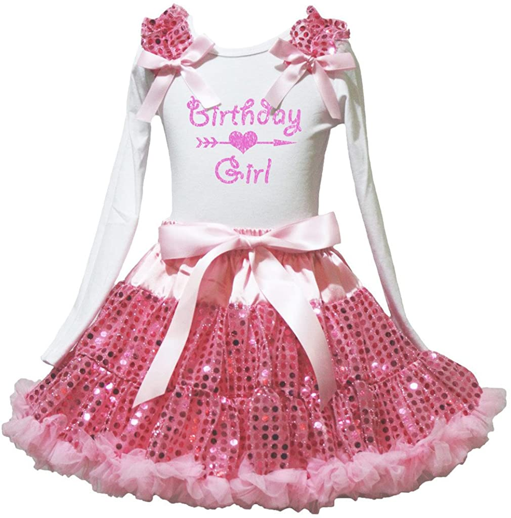 Petitebella Birthday Girl White L/s Shirt Pink Sequins Skirt Set 1-8y