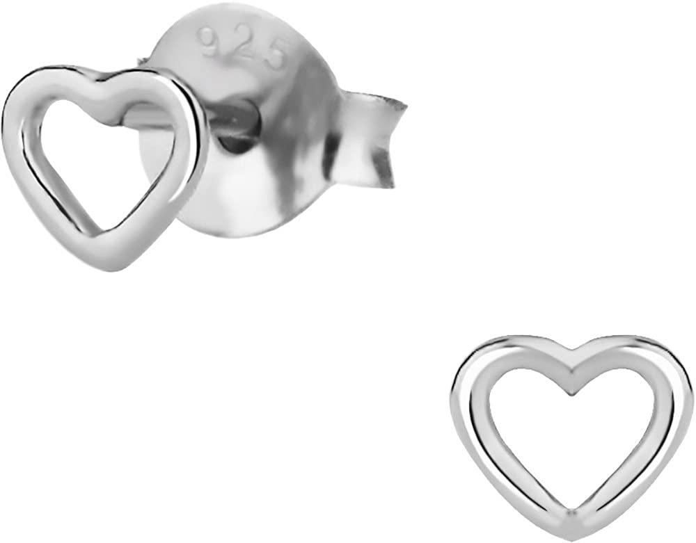Hypoallergenic Sterling Silver Tiny Heart Stud Earrings for Kids (Nickel Free)