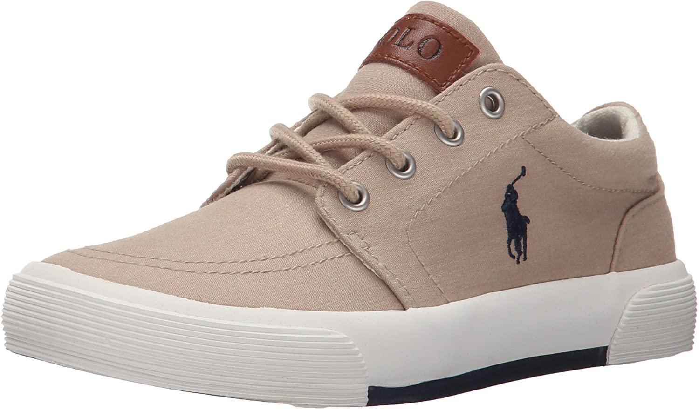 Polo Ralph Lauren Kids Boys' Faxon Ii Sneaker, Khaki/Navy, 10.5 M US Little Kid