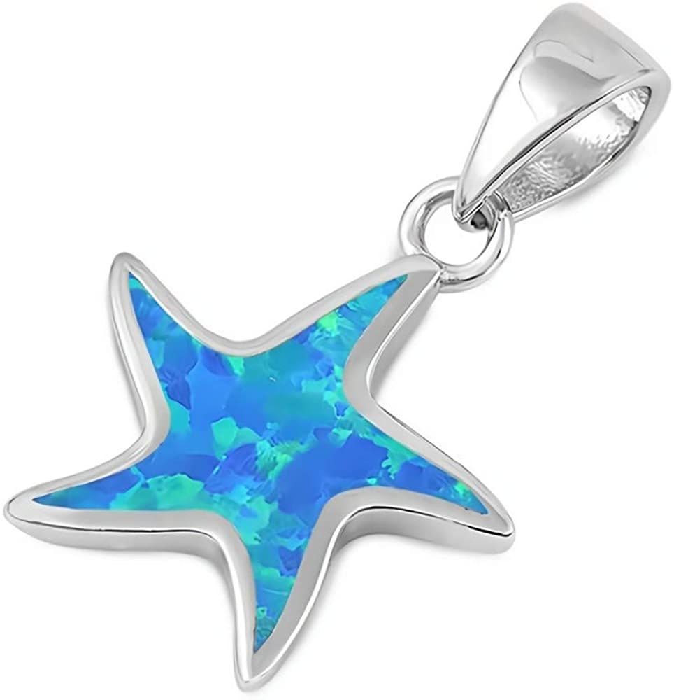 Glitzs Jewels 925 Sterling Silver Created Opal Pendant for Necklace in Gift Box (Blue) (Starfish)