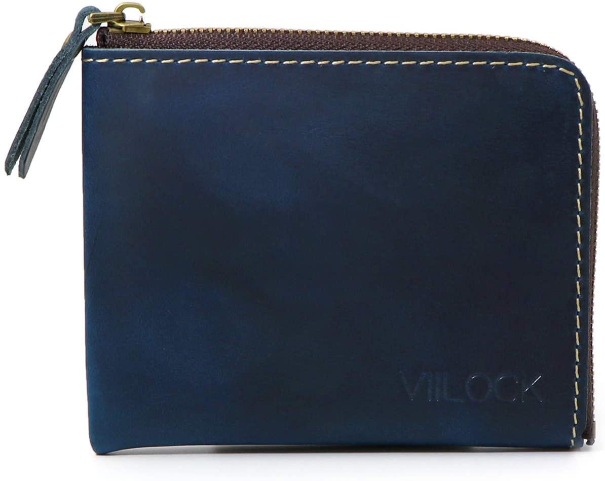 VIILOCK Small Corner Zipper Wallet for men Handmade Genuine Leather Slim Purse (Blue)