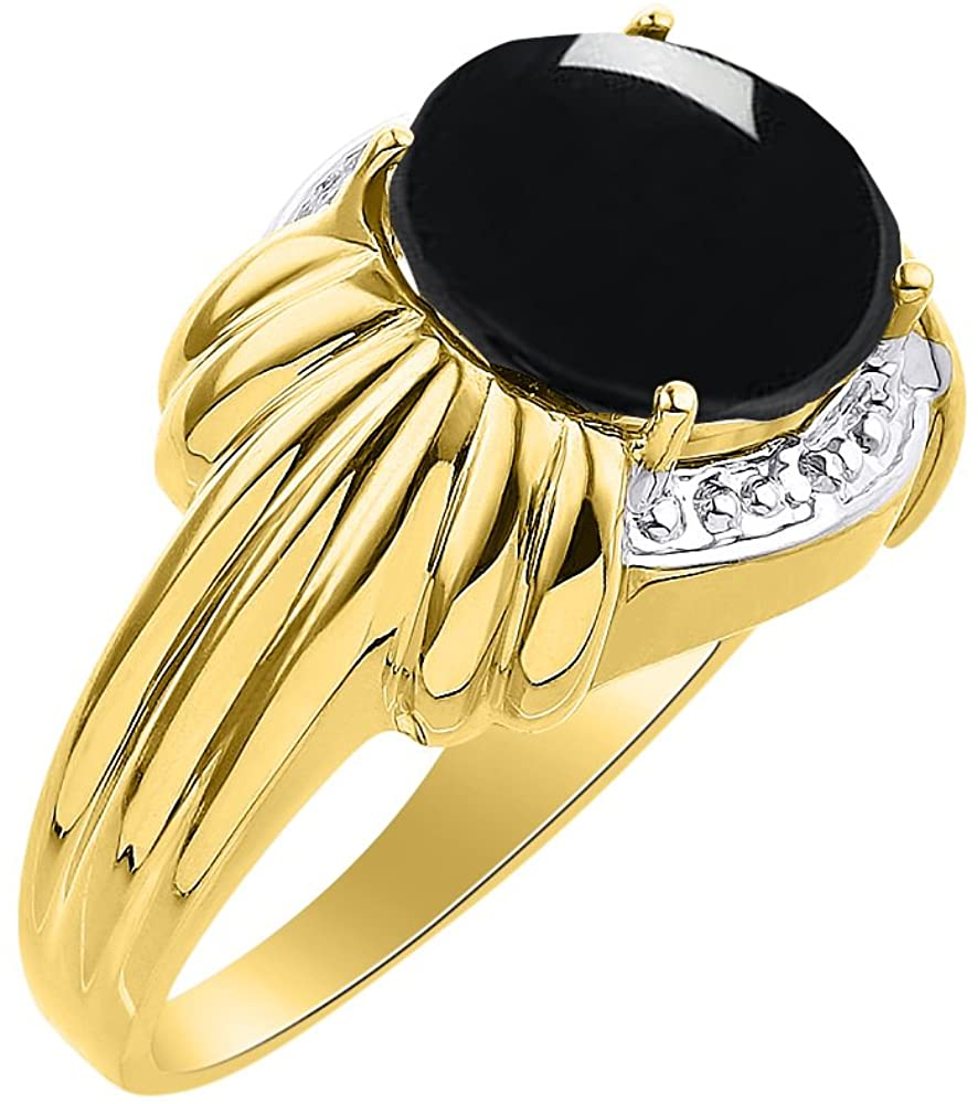 Diamond & Onyx Ring Set In Yellow Gold Plated Silver - 12 X 10MM Color Stone Birthstone Ring