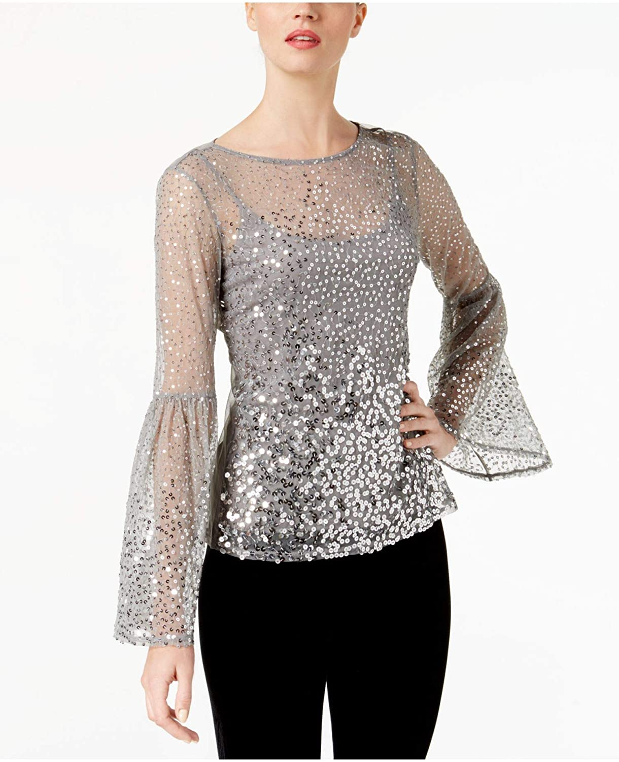 I-N-C Womens Sequinned Knit Blouse