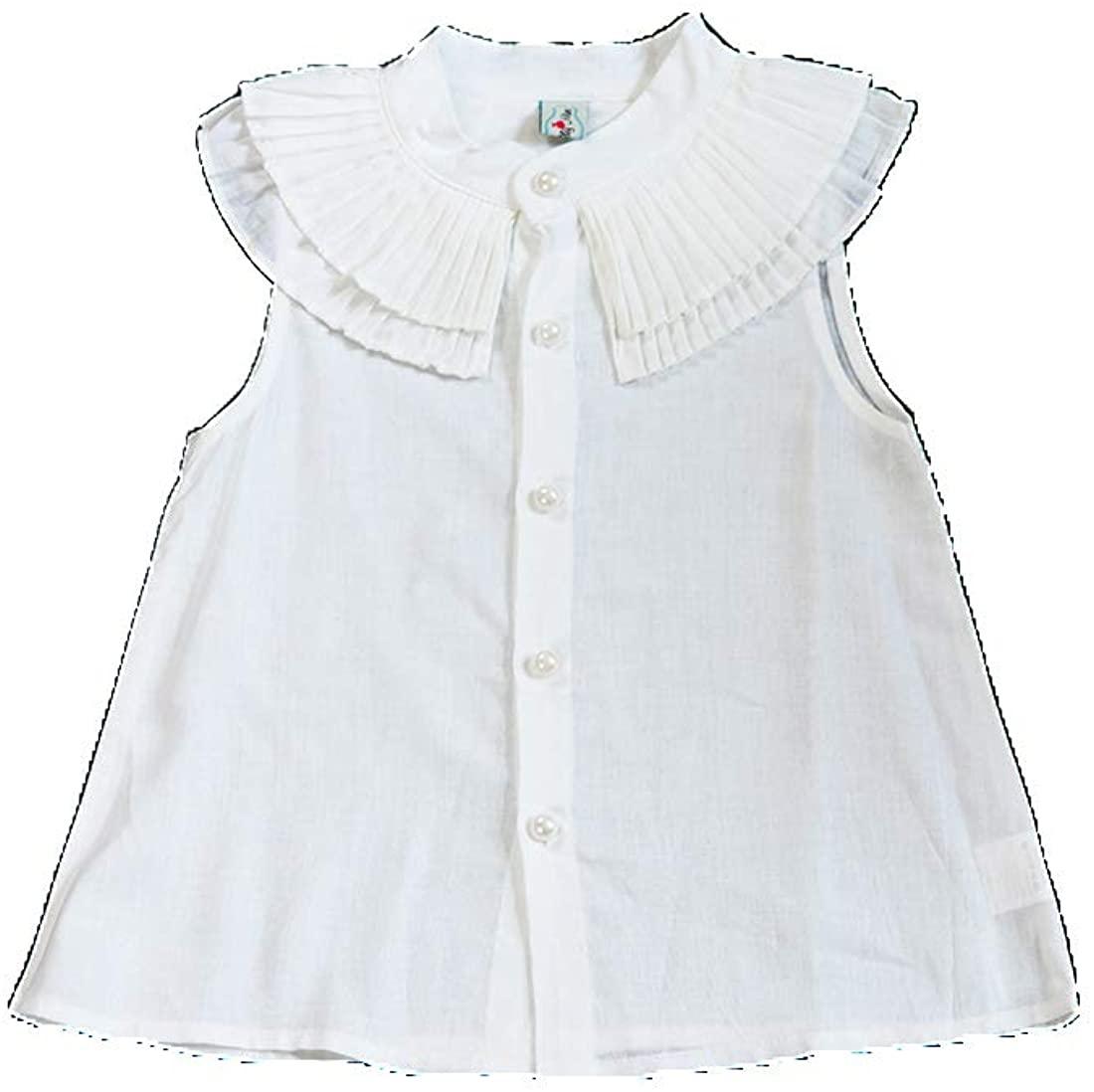 CHOCOKIDS White Sleeveless Girls Shirt with Front Devant Ruffles BSP0012