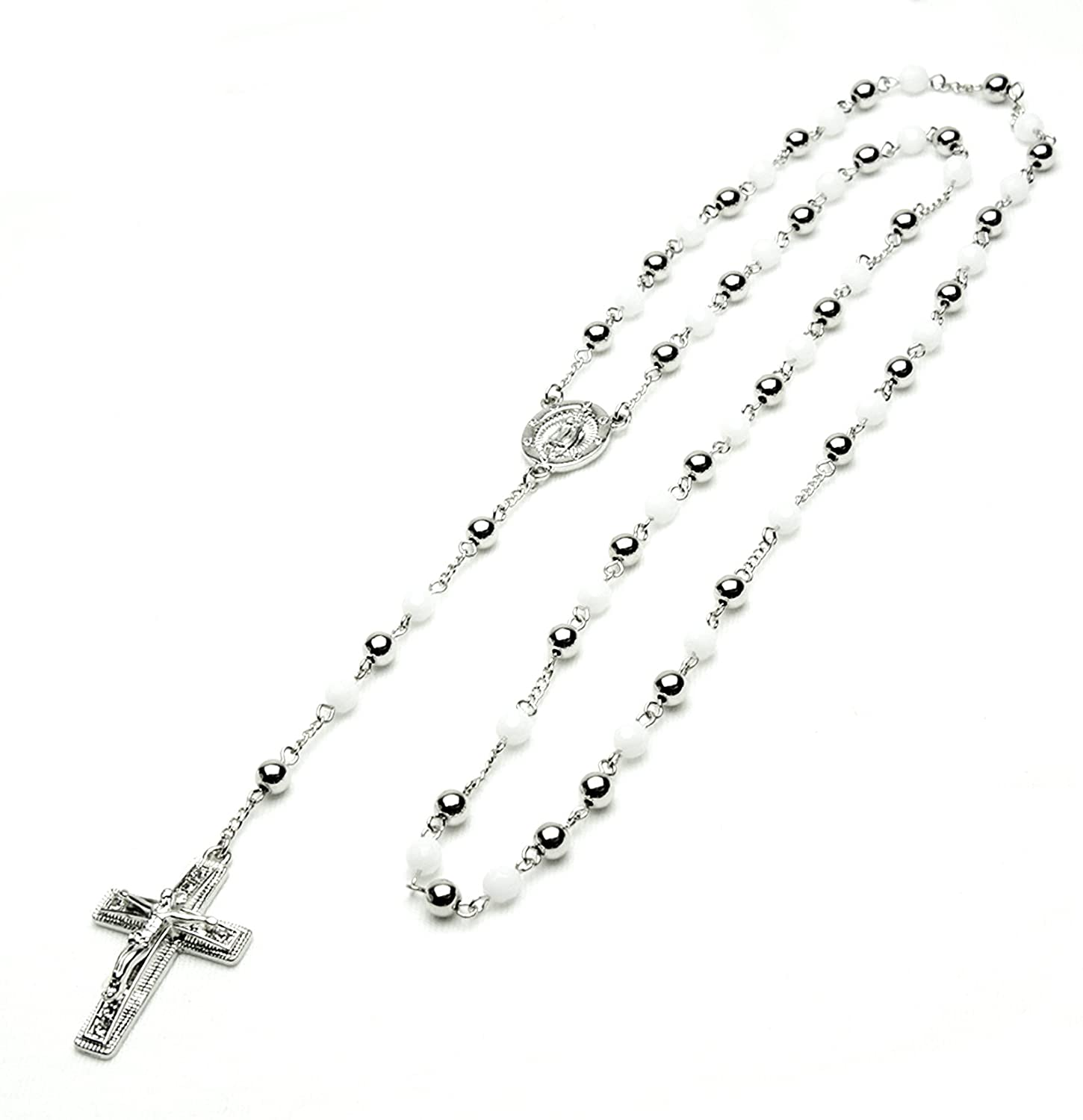 metaltree98 Unisex Fashion Rosary Silver White Bead Guadalupe & Jesus Cross 28 Rosary Necklace HR 600 SSWH