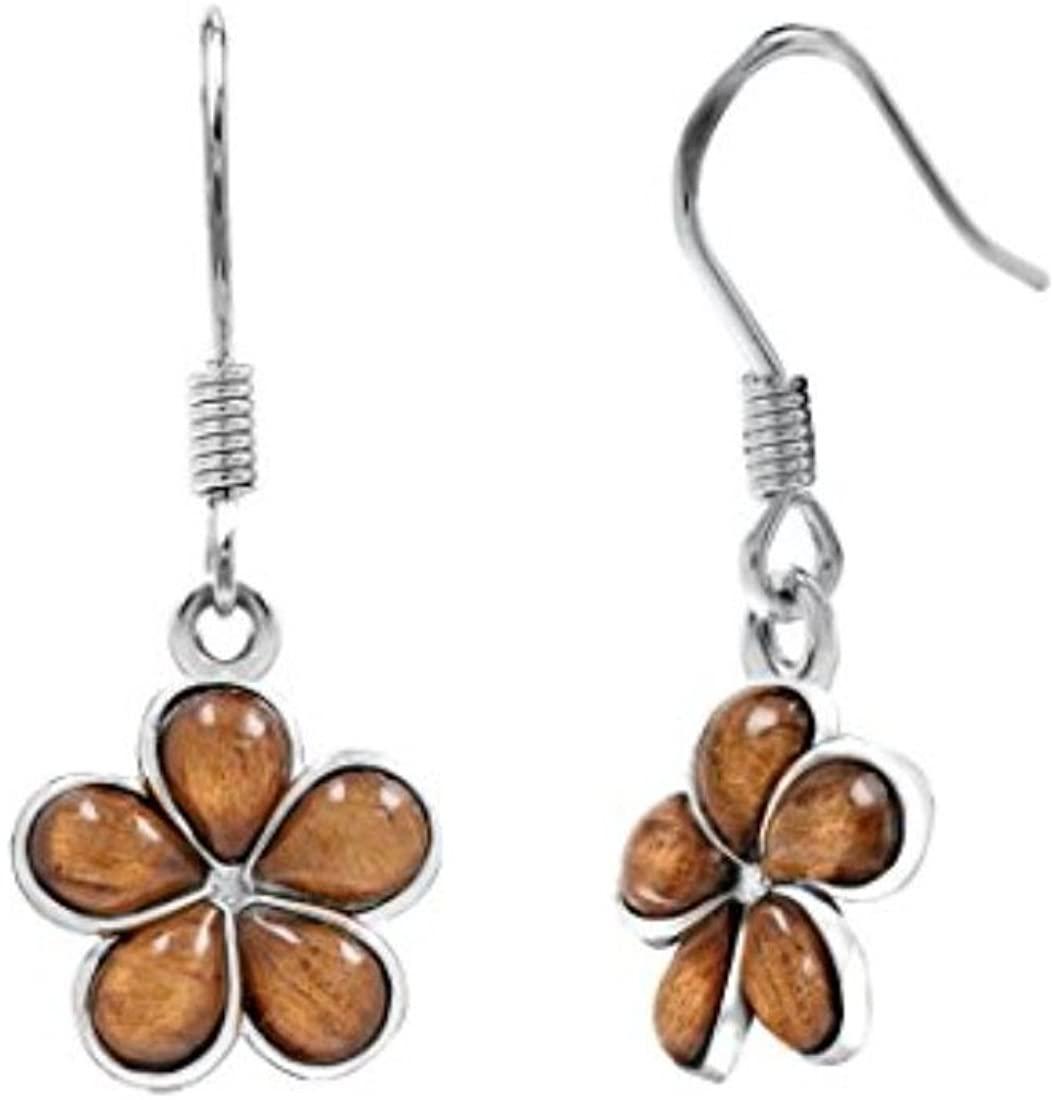 Sterling Silver 925 Genuine Koa Wood Plumeria Flower Hook Earrings