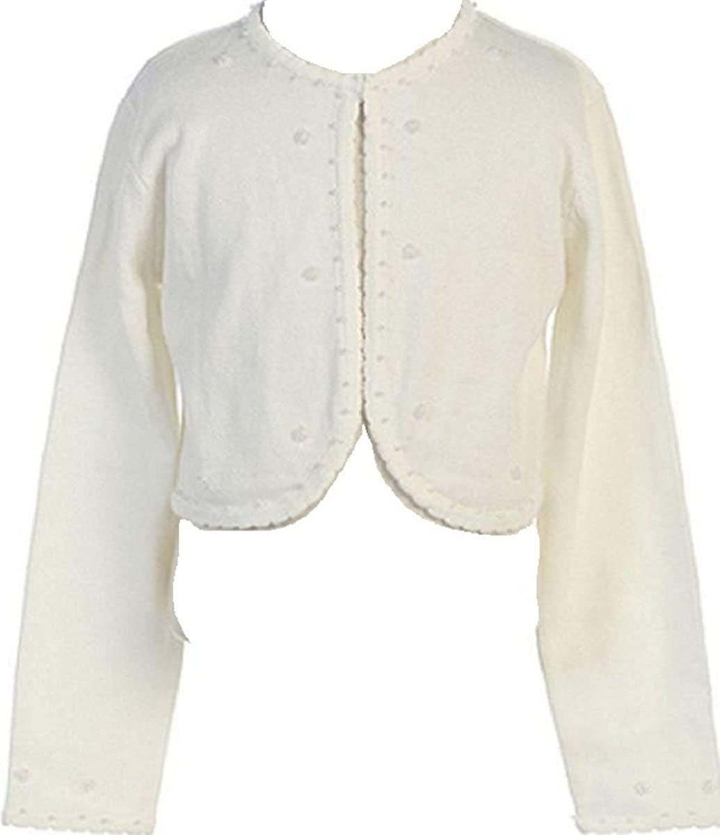 Little Girls Beaded Knit Cotton Bolero Shrug Sweater for Flower Girl Communion Ivory Size M (4-6)