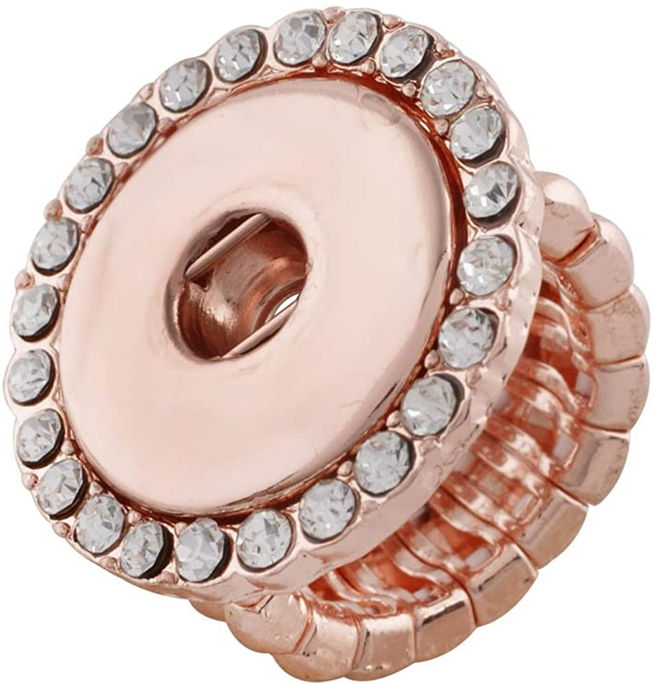 My Prime Gifts Snap Jewelry Rose Gold Halo Rhinestone Stretch Ring Holds 18-20mm Snaps