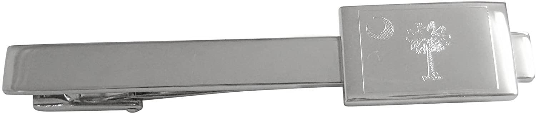 Kiola Designs Silver Toned Etched South Carolina State Flag Square Tie Clip