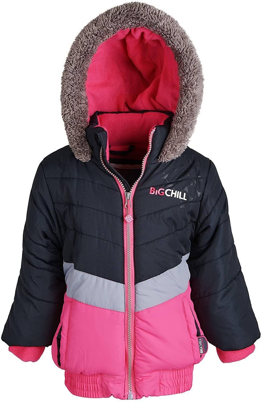 Big Chill Little Girls Warm Winter Down Alternative Fleece Lined Puffer Jacket