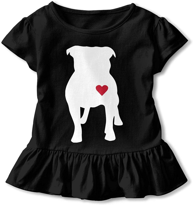 Notapplicable Pitbull Heart 3D Tee Baseball Ruffle Short Sleeve Cotton Girls Shirts