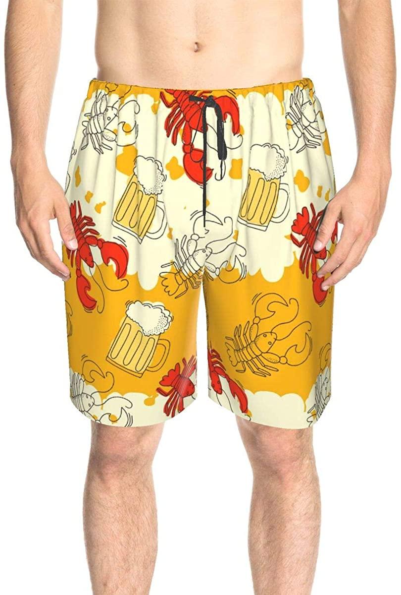 Bomini Men's Swim Trunks Male Swimtrunks Beachwear Beer Crawfish Drawstring Elastic Waist Casual Beach Summer Outfit Pants